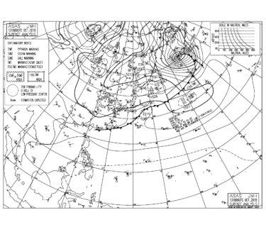 10/14 気圧配置と波情報~千葉は今日も北東の風が強めにながらも東うねりはサイズアップ、湘南は吉浜で腰くらい