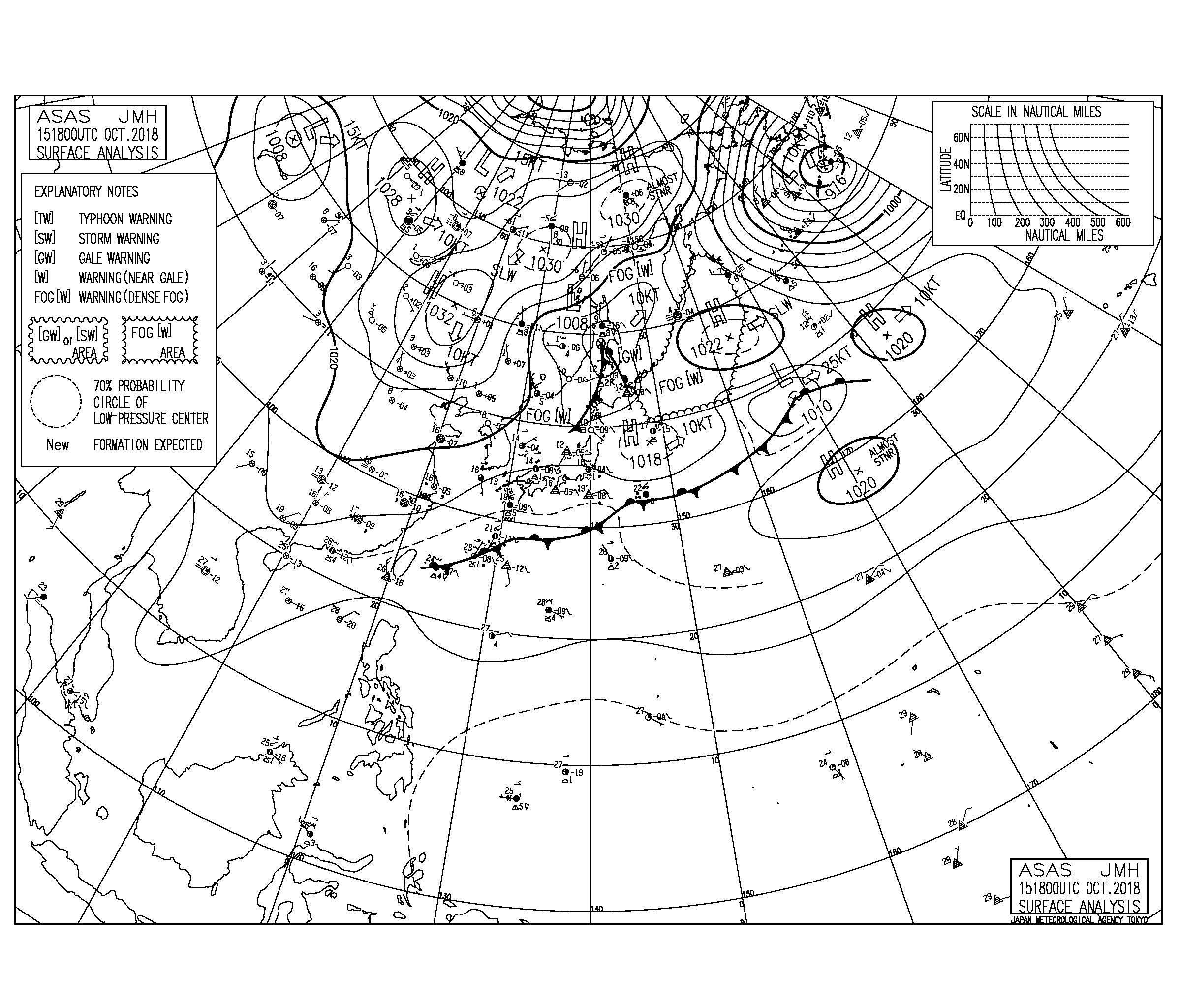 10/16 気圧配置と波情報~千葉は東うねりはややサイズダウン、湘南は遠浅のポイントで少しできる