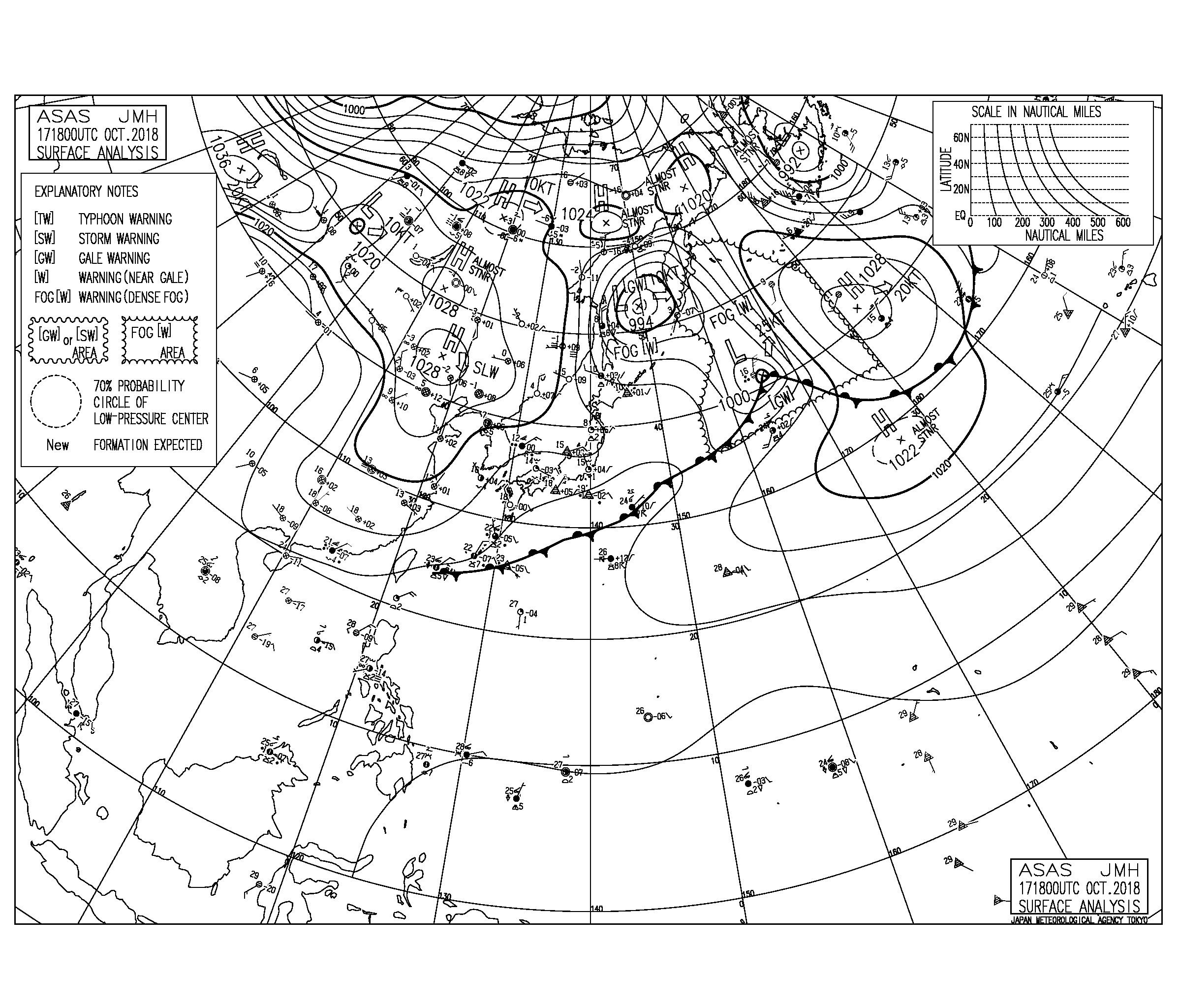 10/18 気圧配置と波情報~今日も北よりの風で腹胸サイズの千葉エリア、今日から志田下でJPSA開催