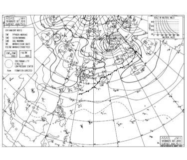 10/19 気圧配置と波情報~北東の風と東うねりが続く、志田下のJPSAは風が合わないながらも見応えあり