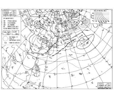 10/20 気圧配置と波情報~東うねりが続きポイント選べば楽しめる波、明日は千葉南エリアが狙い目か⁈