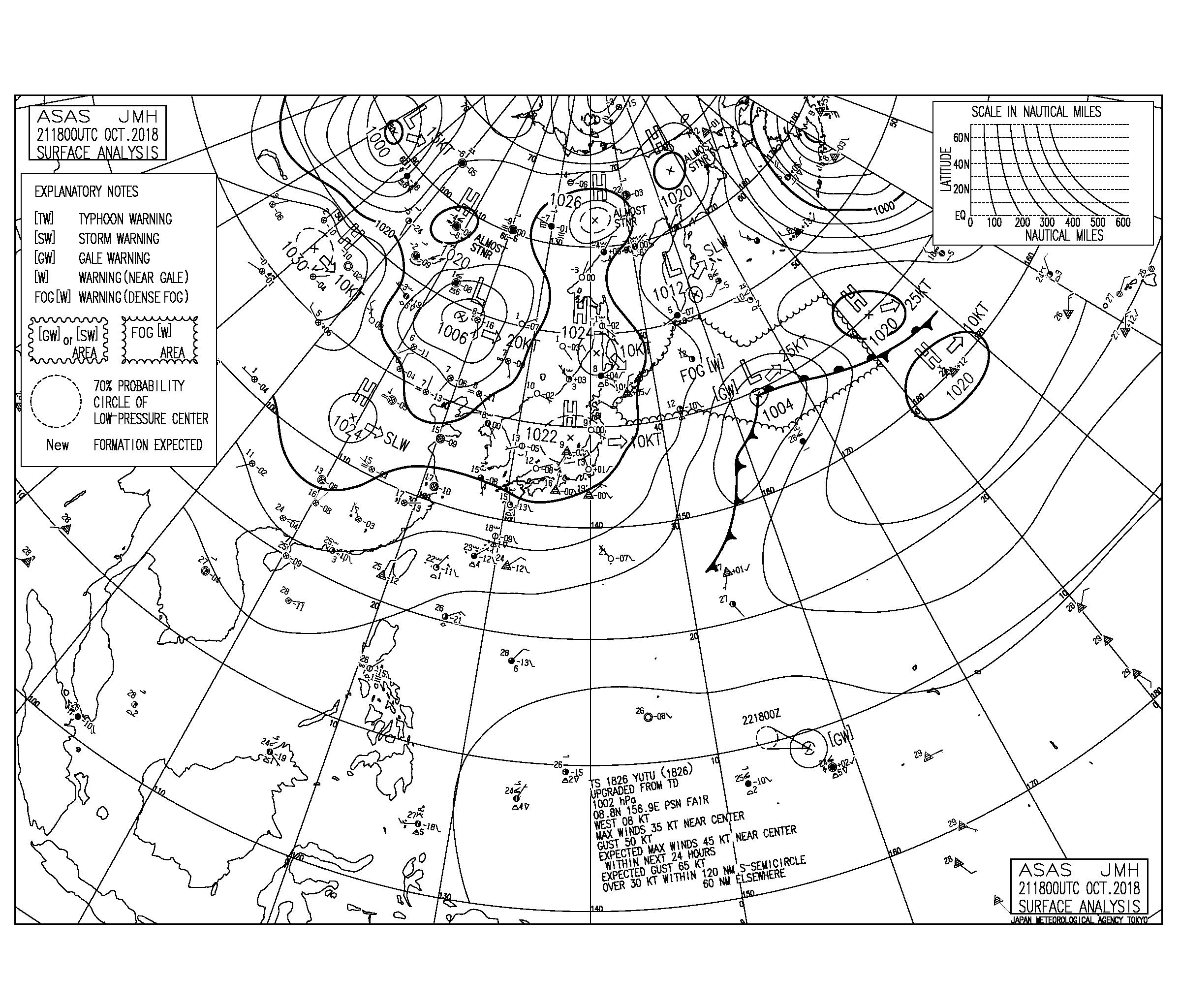10/22 気圧配置と波情報~はるか南海上に台風26号が発生、今日も東うねりと北風で千葉エリアは楽しめる波
