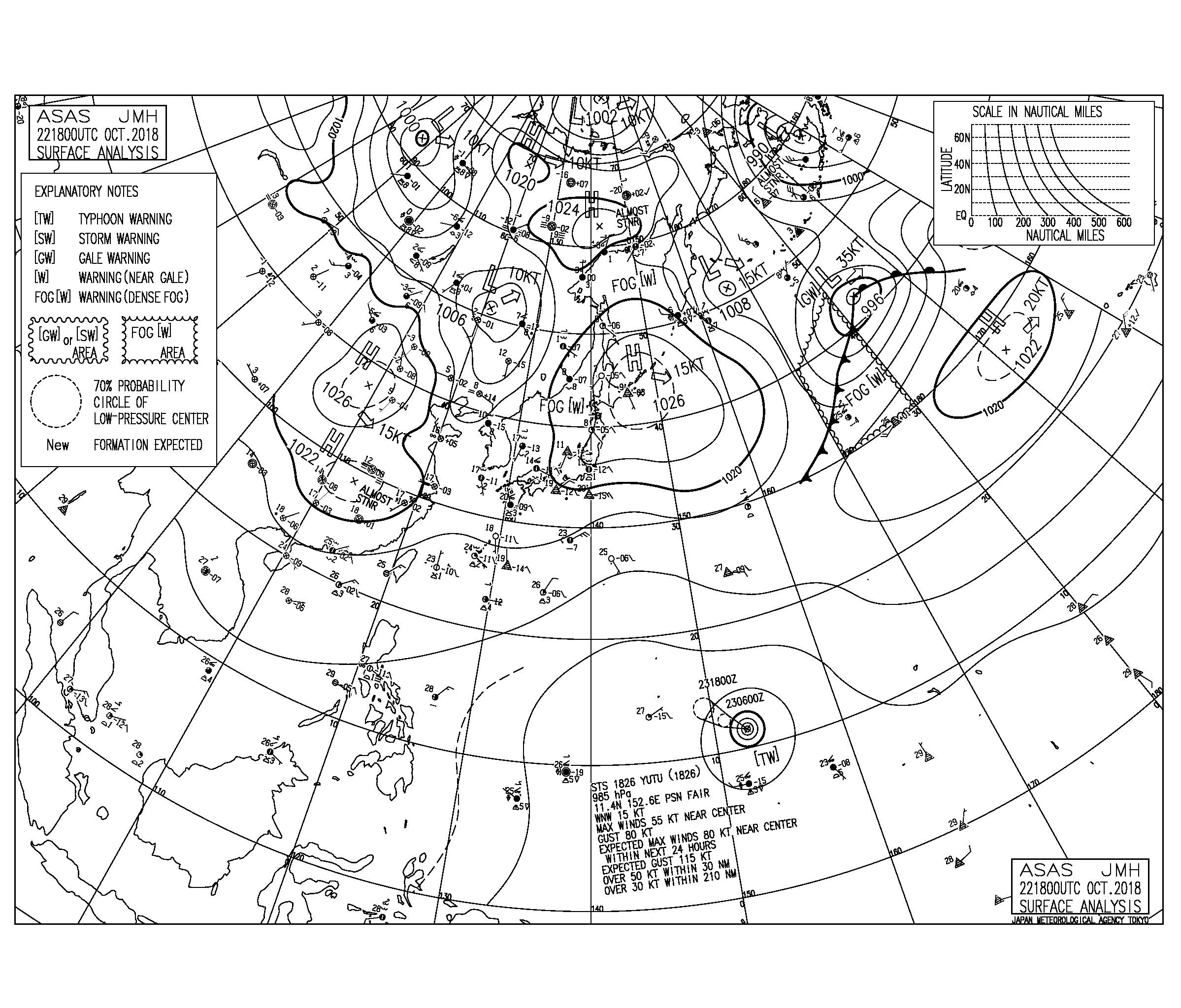 10/23 気圧配置と波情報~東うねりの反応が続き遊べるサイズ、台風26号のうねりは週末に反応あるか⁈