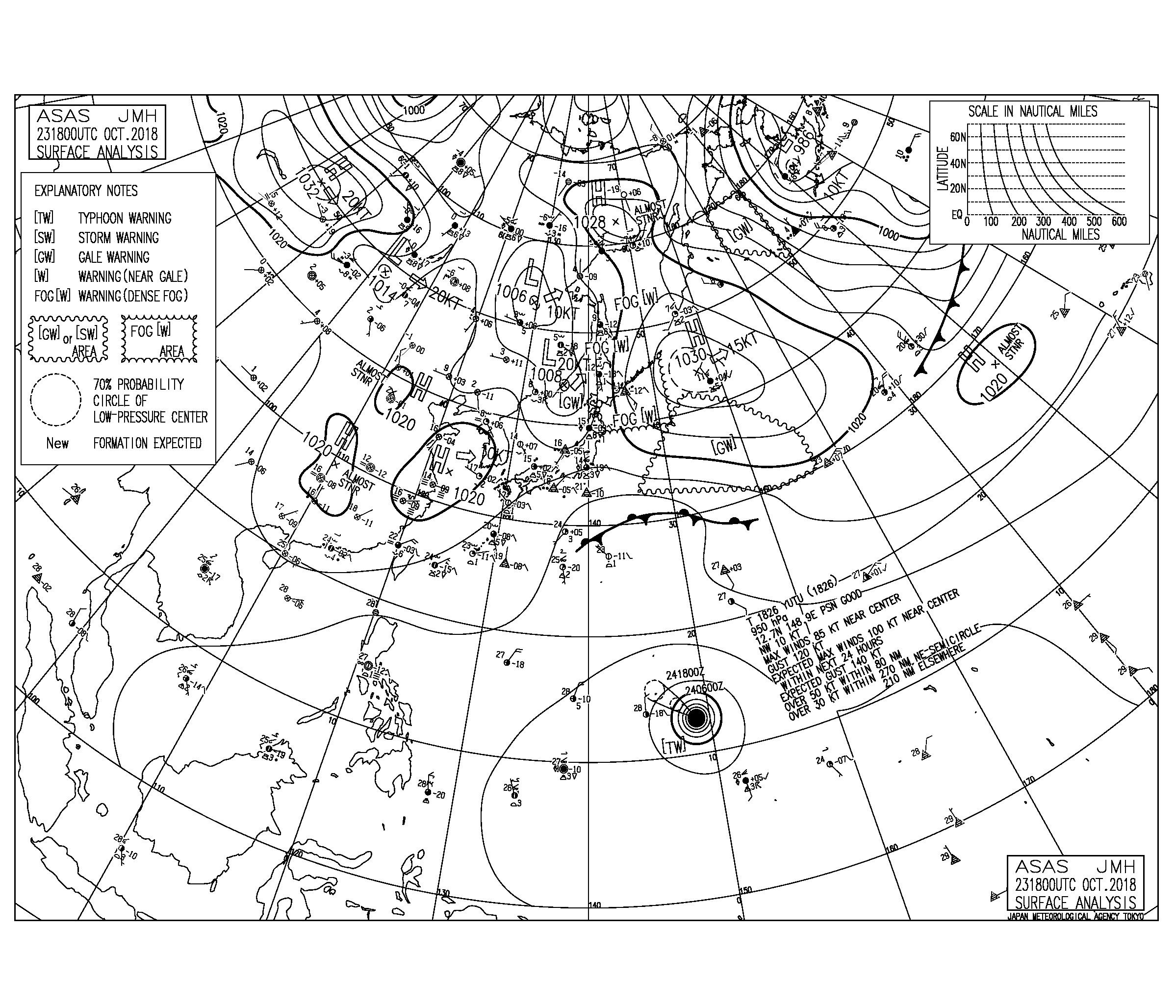 10/24 気圧配置と波情報~今日も東うねりで千葉は十分なサイズ、週末は台風26号のうねりが期待できそう!