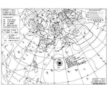 10/25 気圧配置と波情報~土曜日は台風26号のうねり入るも南の風が強く影響しそう