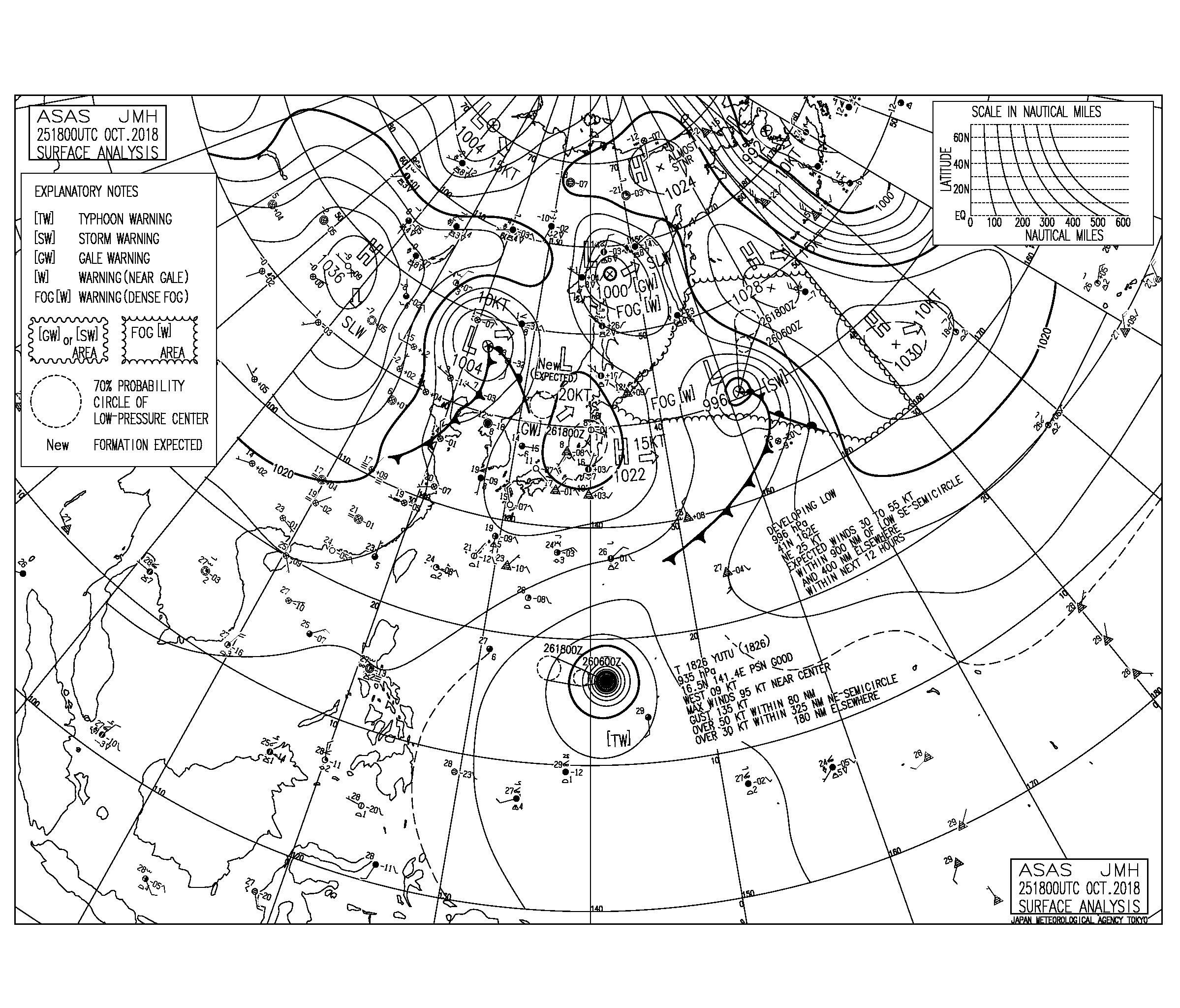 10/26 気圧配置と波情報~週末は台風26号のうねりがしっかり反応する見込み、土曜日は南風を軽減するポイントへ