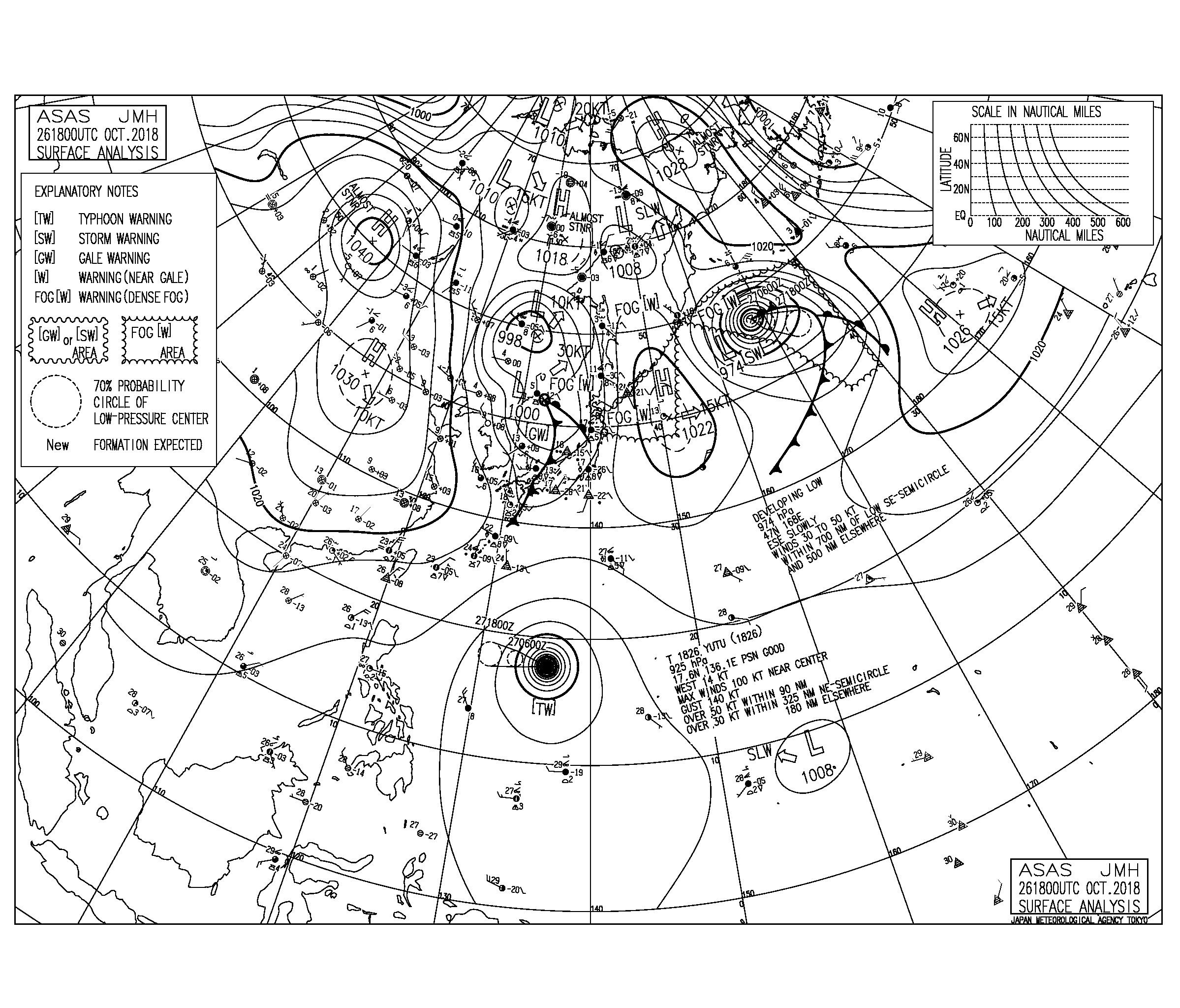 10/27 気圧配置と波情報~台風26号のうねりで湘南は朝一から胸肩のいい波!千葉は午後の一宮や千倉が良くなりそう⁈