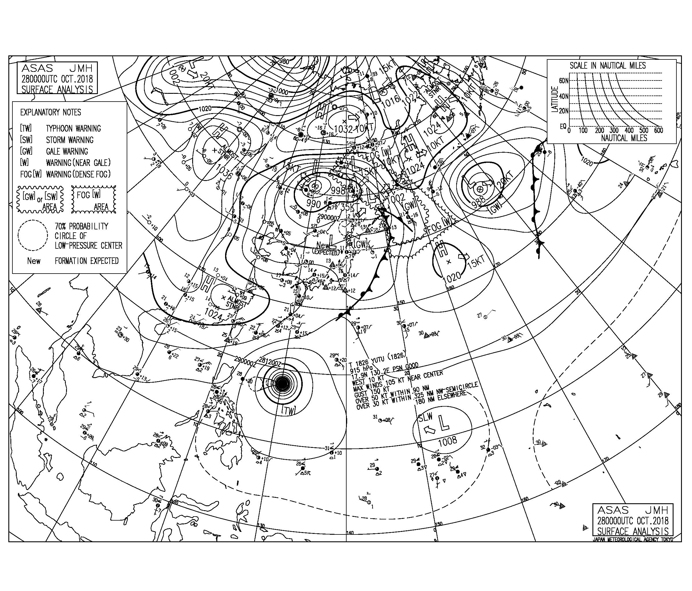 10/28 気圧配置と波情報~台風26号のうねりで千葉南と湘南はどこもいい波!千葉北も北の風をかわすポイントで楽しめてます