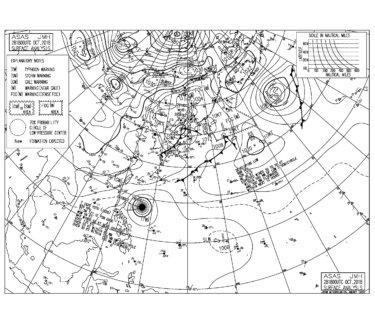 10/29 気圧配置と波情報~台風のうねりは南西にシフト、今日も南西の風を軽減するポイントでは楽しめる波!