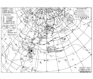 10/30 気圧配置と波情報~しばらく続いた東うねりは弱まり、明日から冬型の気圧配置へ