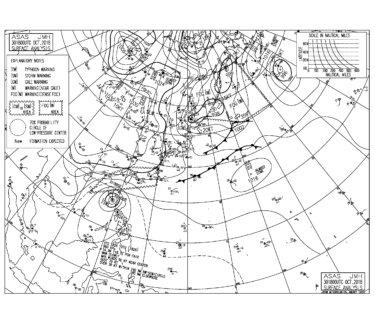 10/31 気圧配置と波情報~冬型の気圧配置で北西の風、湘南は南西うねりでファンコンディション!