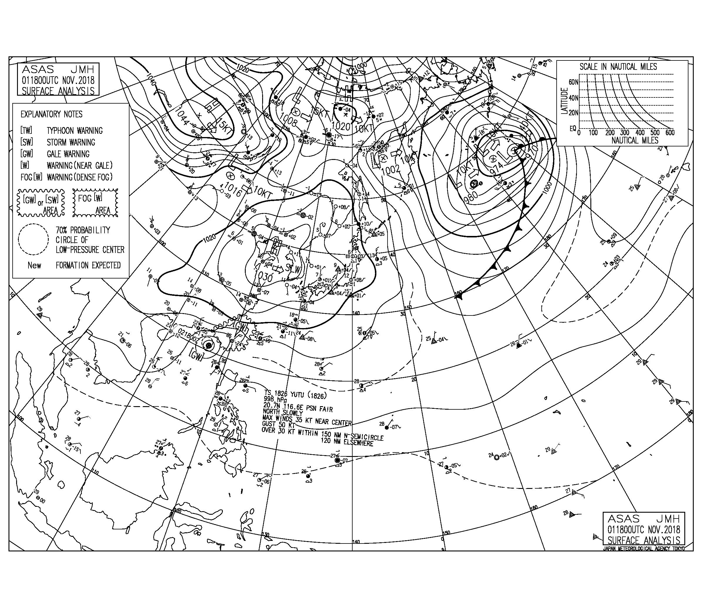 11/2 気圧配置と波情報~湘南の南西うねりは今日まで、千葉は明日から北東うねりが反応しそう