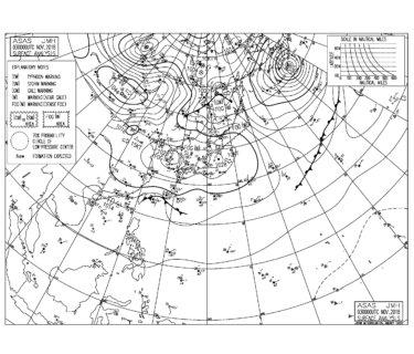 11/3 気圧配置と波情報~北東うねりの反応はなく物足りないコンディション、明日は今日よりはサイズ出てきそう