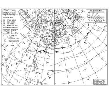 11/4 気圧配置と波情報~うねりの弱い状況が続き物足りないコンディション、北東の波に敏感なポイントで少しできる