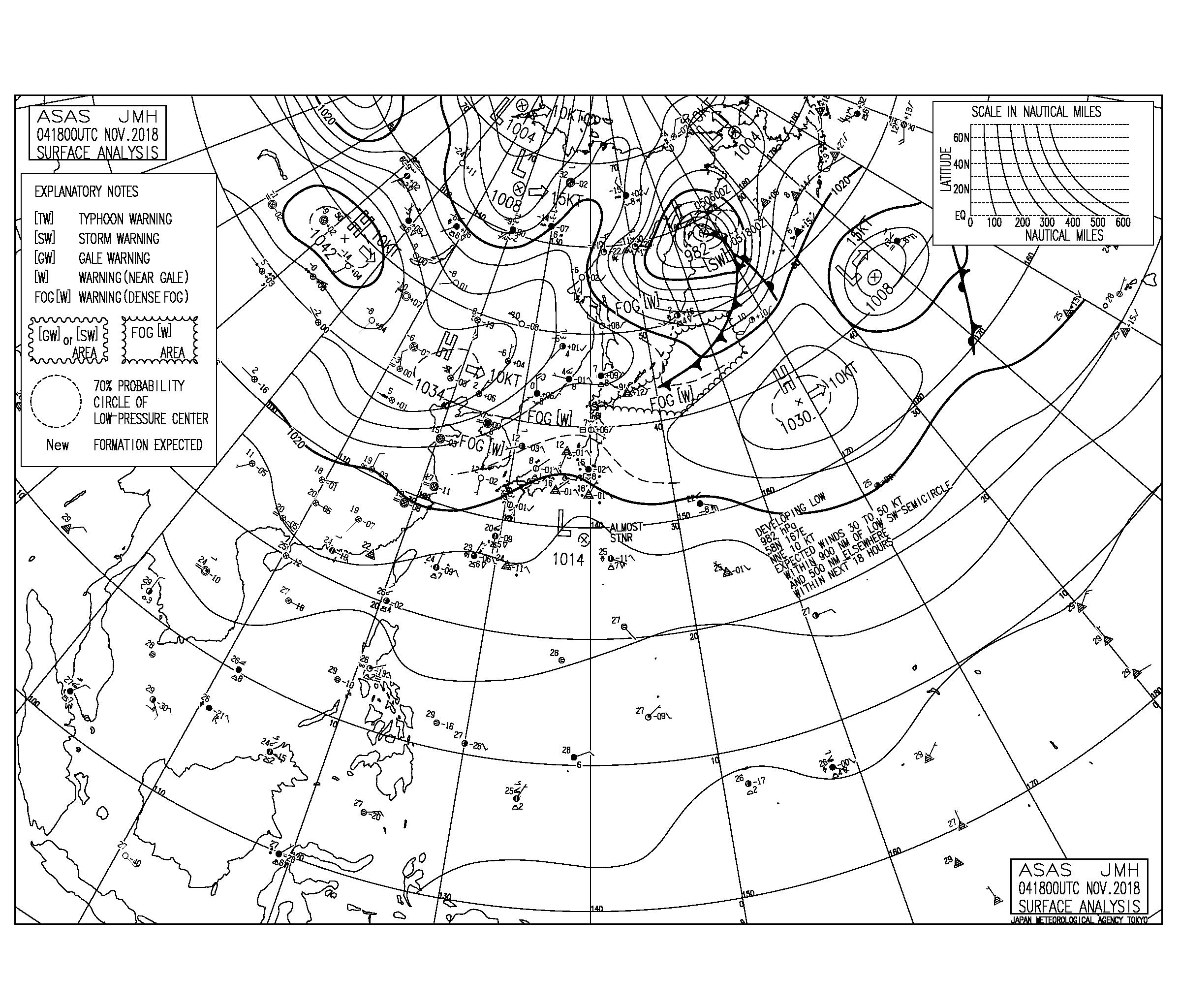 11/5 気圧配置と波情報~高気圧が東へシフトし太平洋側は東から南東うねりに反応しやすい気圧配置