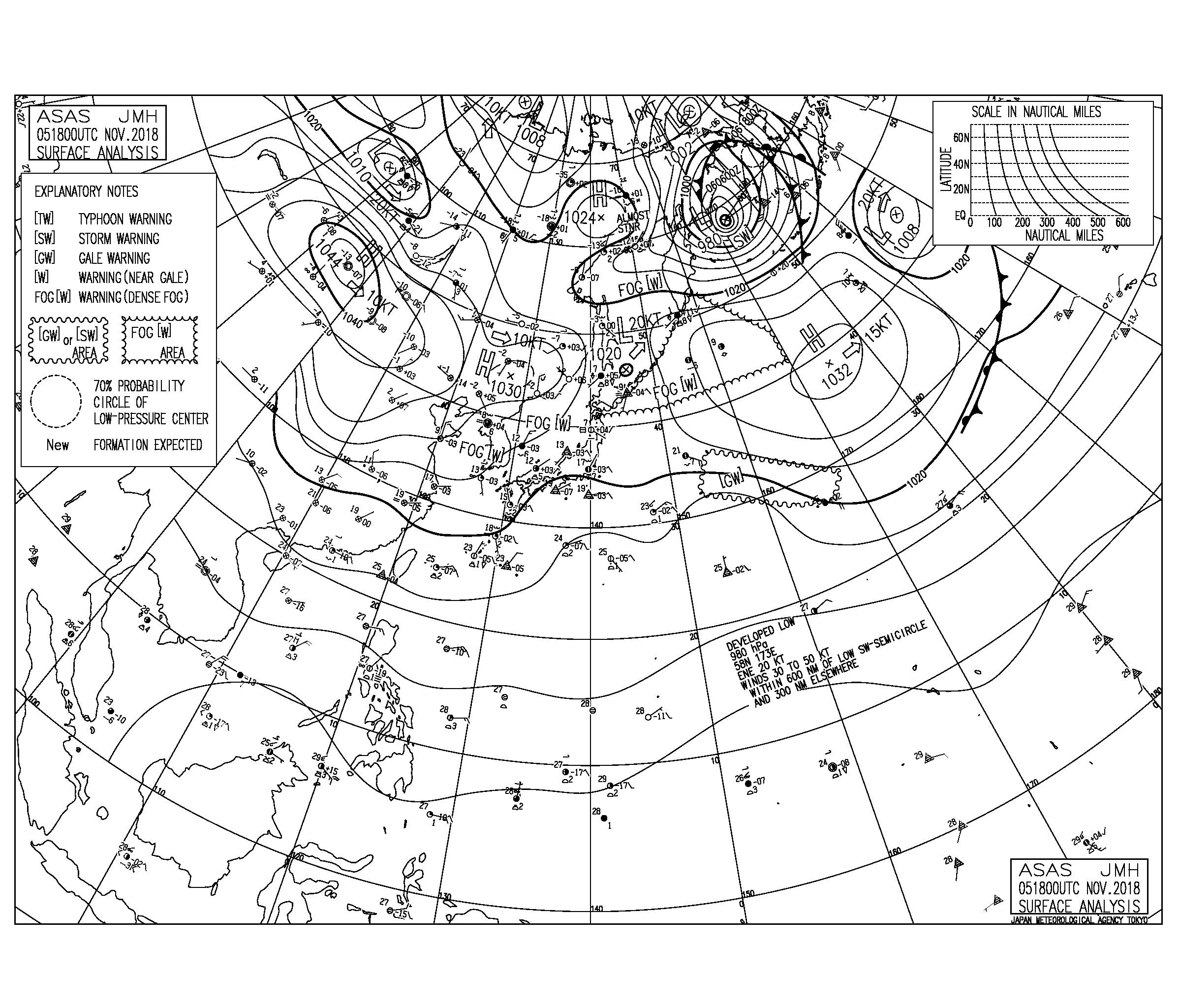 11/6 気圧配置と波情報~東海上の高気圧からの東から南東うねりに弱く反応、今日から大潮まわり