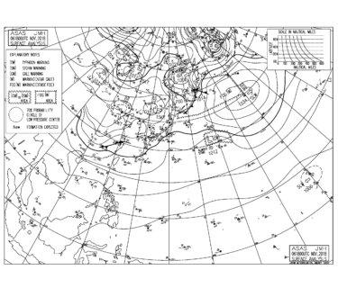 11/7 地上天気図と波情報~東うねりや北東の風波の反応良くなるも北東の風が強いパターン