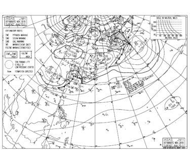 11/8 地上天気図と波情報~今日も東うねりに反応し北東の風が強め、明日は南ベースの風にシフト
