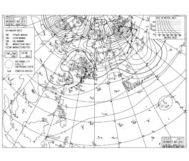 11/9 地上天気図と波情報~千葉エリアは東うねりがしっかり反応して胸肩から頭サイズ、明日は北寄りの風にシフトしてサイズも残り楽しめそう