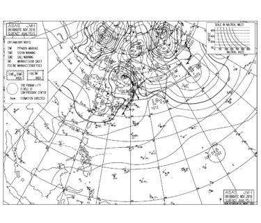 11/10 地上天気図と波情報~千葉エリアは東うねりとオフショアの週末スタート、小春日和なサーフィン日和