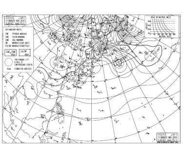 11/12 地上天気図と波情報~東うねりと雷雨のスタート、今週は寒気が入り寒くなる