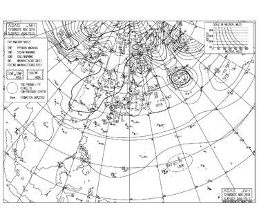 11/13 地上天気図と波情報~すっきりしない天気、週末は低気圧の影響でやや荒れそう?