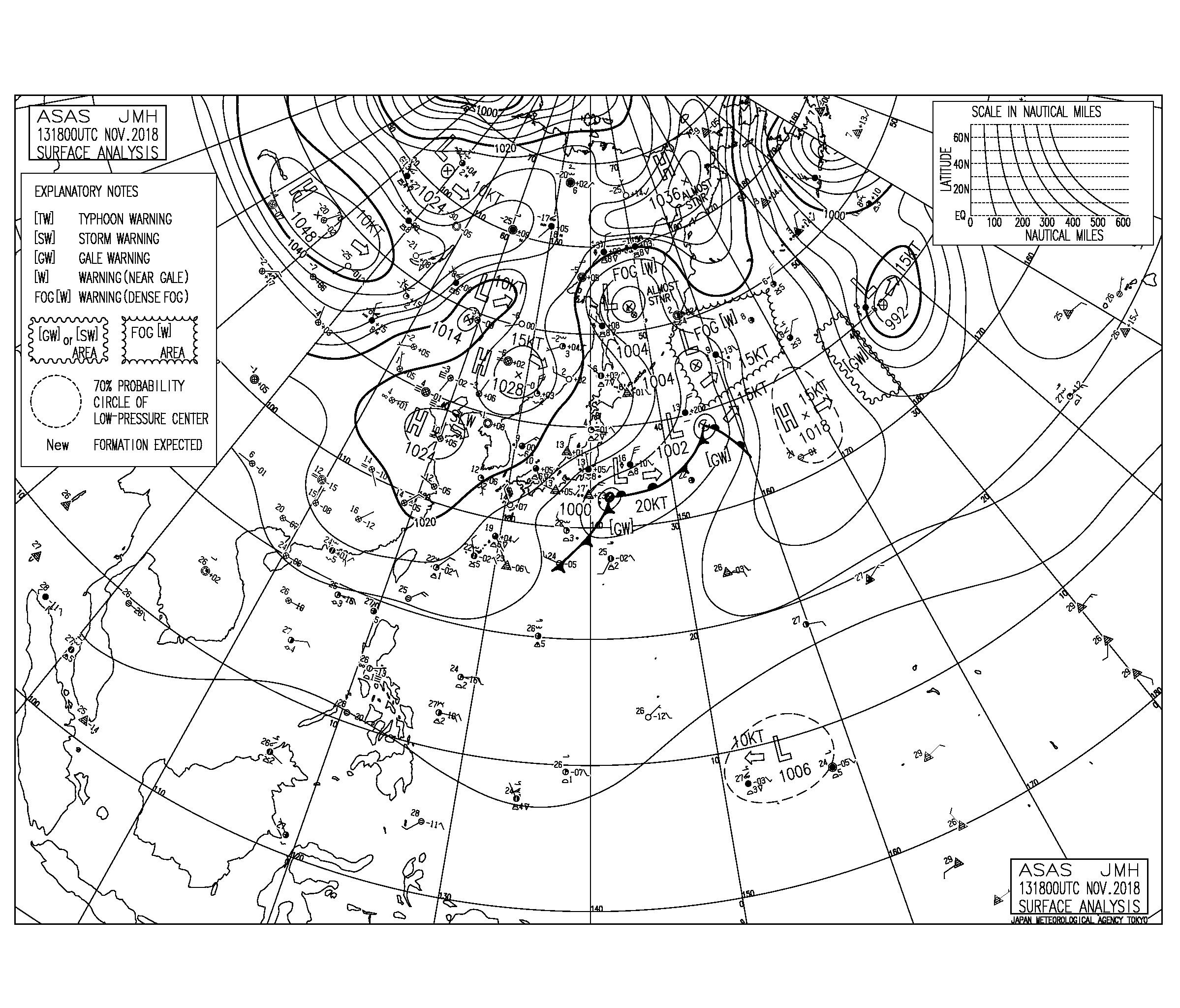 11/14 地上天気図と波情報~今日も北東の風が強く吹く、土曜日は低気圧が東進しそう