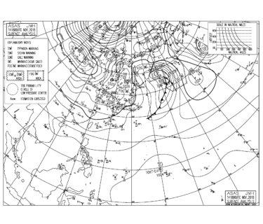 11/15 地上天気図と波情報~風はおさまり程よいサイズで遊べるコンディション、明日も東うねりで楽しめそう