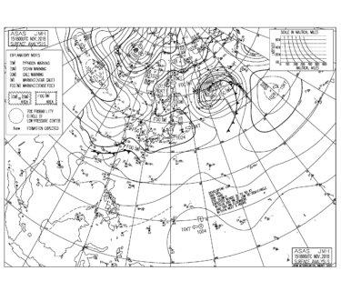 11/16 地上天気図と波情報~千葉は東うねりが反応して遊べるサイズをキープ、風の予報が不安定なので明日も朝一狙いが良さそう