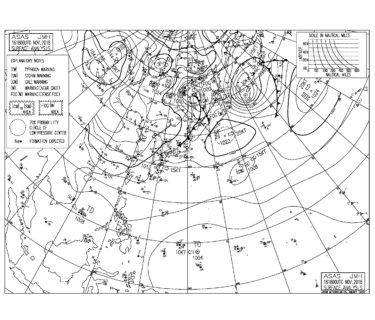 11/17 地上天気図と波情報~弱いオフショアのファンサイズで多くのポイントで楽しめる!