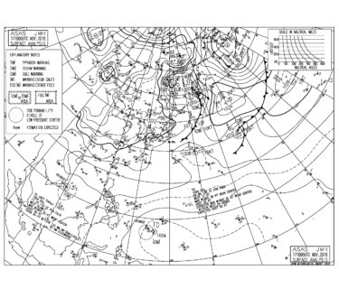 11/18 地上天気図と波情報~朝から北東の風が強く吹く日曜日、今週も北東の風を気にする1週間になりそう