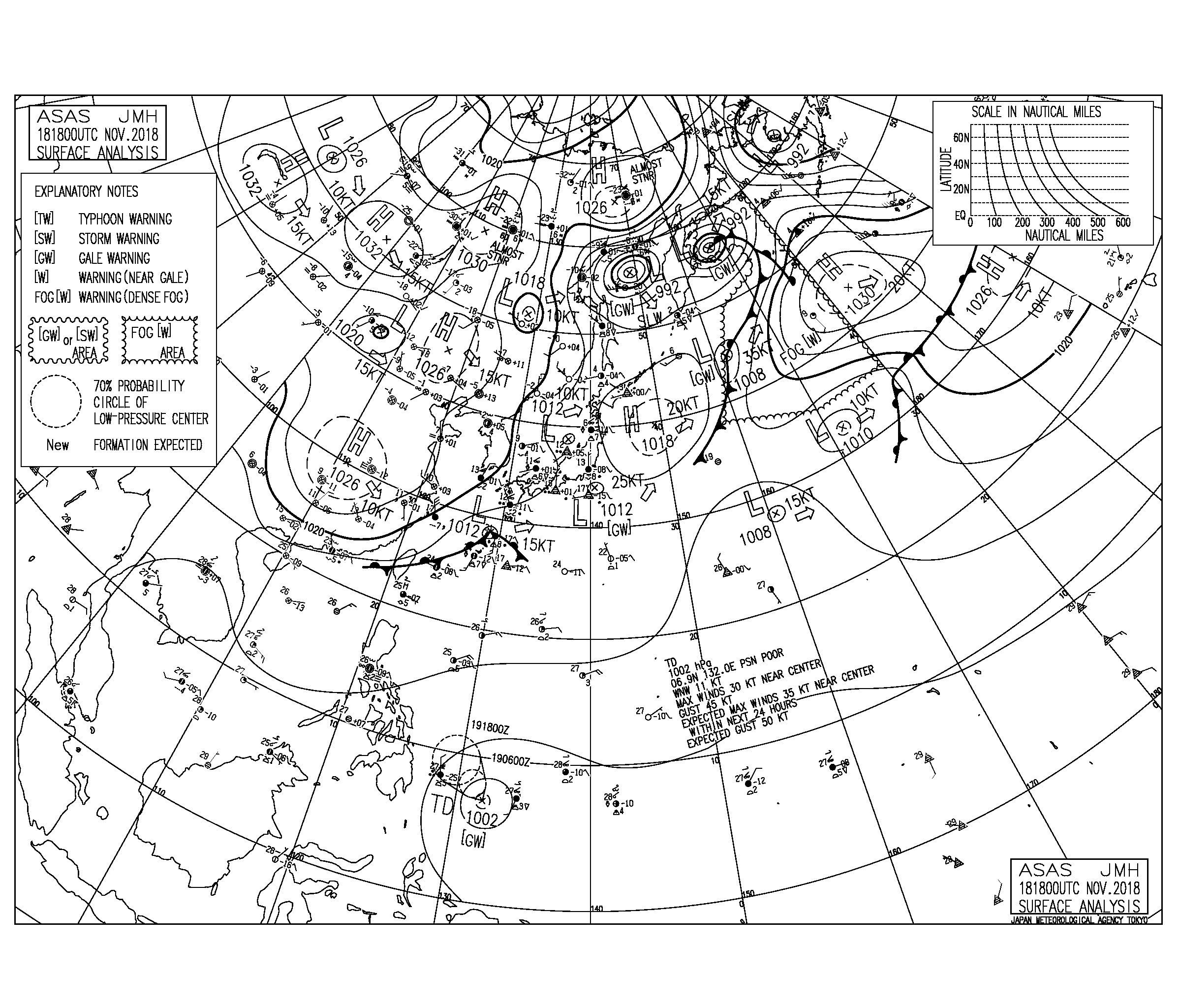 11/19 地上天気図と波情報~今朝は千葉南エリアはコンディション良さそう、週末にかけて寒くなります
