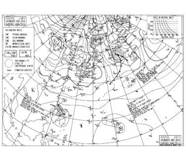 11/21 地上天気図と波情報~小春日和のファンコンディション、週末は台風28号のうねりに期待!