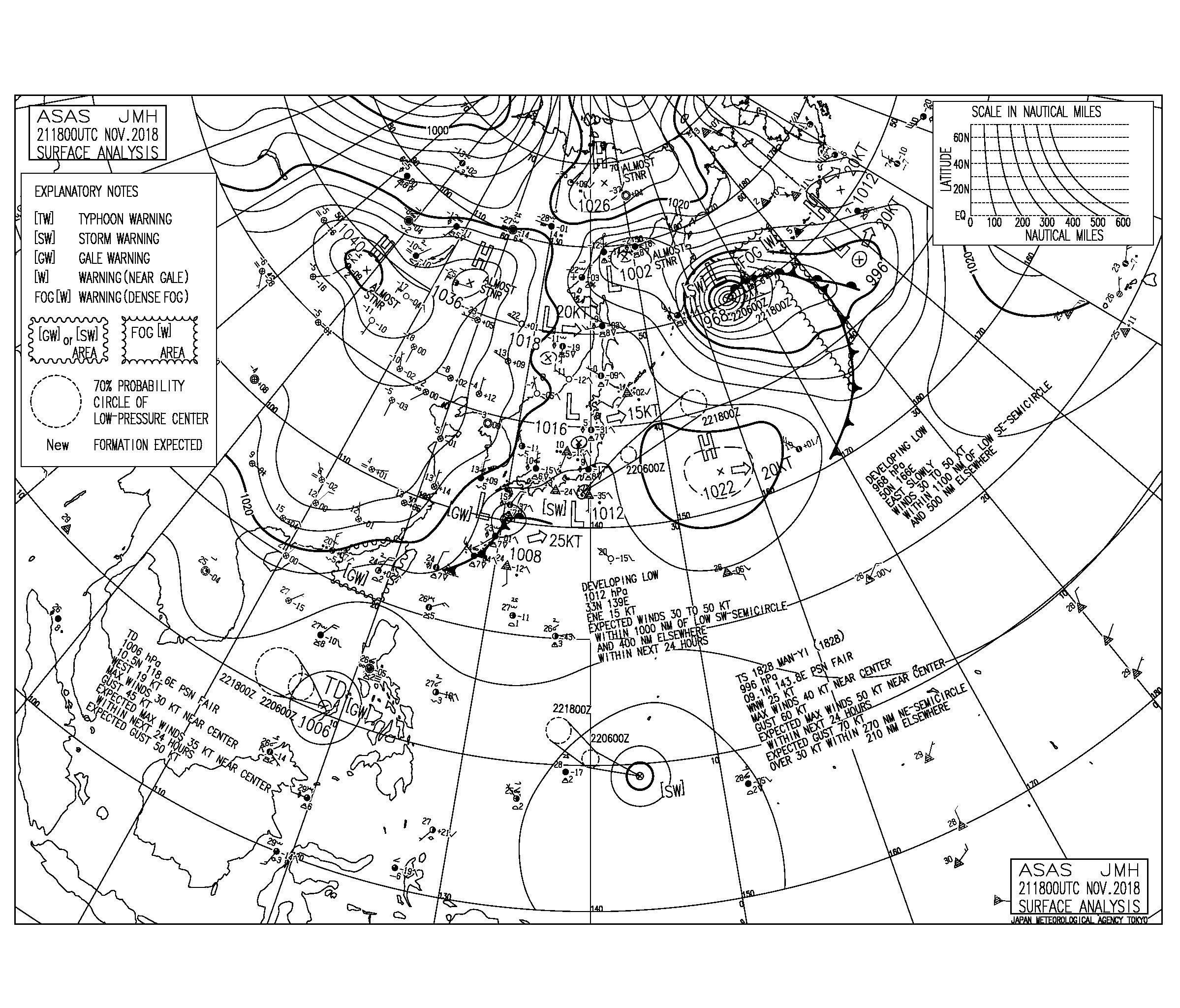 11/22 地上天気図と波情報~今朝は湘南も南東うねりで遊べるサイズ、台風28号のうねりは来週になりそうか⁈