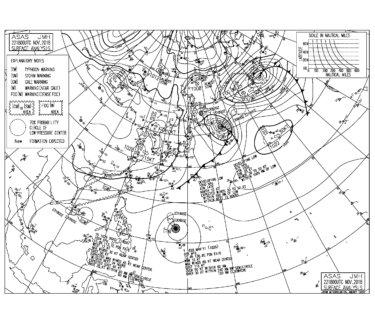 11/23 地上天気図と波情報~冬型の気圧配置で強い北よりの風、昨日までの東うねりはダウン傾向