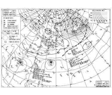 11/24 地上天気図と波情報~弱めの東うねりと北東風のパターン、来週はいろんな方向からうねり入りそう