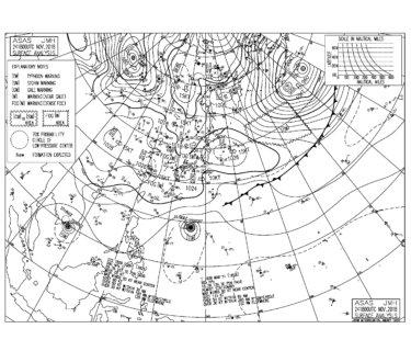 11/25 地上天気図と波情報~オフショアとファンサイズの連休最終日、寒さも緩み一日楽しめそう!