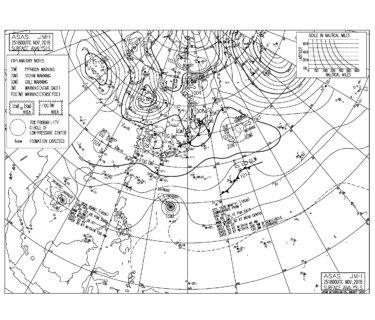 11/26 地上天気図と波情報~今朝も千葉エリアは胸肩サイズのファンコンディション、 台風28号のうねりがうっすら反応