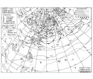 11/27 地上天気図と波情報~今日は風の影響は少なく次第にまとまってきそう、台風28号は昨夜熱帯低気圧に降格