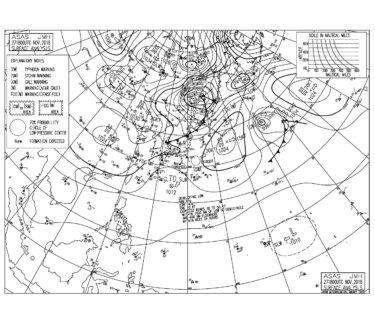 2018/11/28 地上天気図と波情報~千葉エリアは東うねりの弱いオフショアでいい感じ、明日は北の風が強く吹きそう
