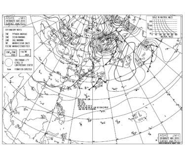 2018/11/29 地上天気図と波情報~南海上の低気圧にむけて北風が強く吹く、今夜にかけて冬型の気圧配置へ