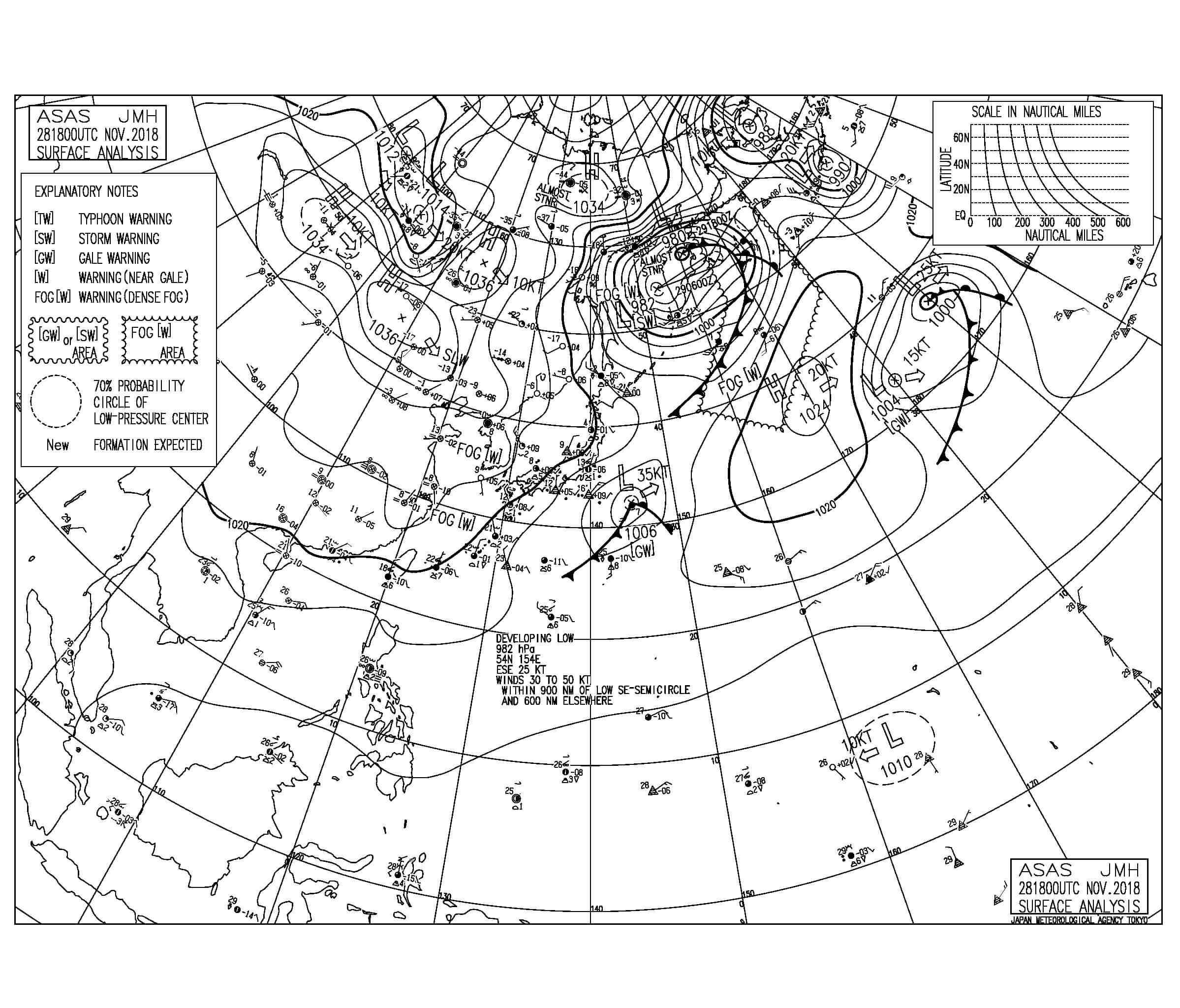 11/29 地上天気図と波情報~南海上の低気圧にむけて北風が強く吹く、今夜にかけて冬型の気圧配置へ