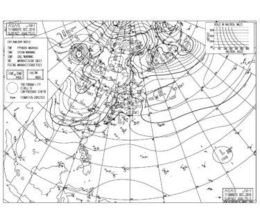 低気圧の通過と高気圧の吹き出しによる東から南東うねりでサイズアップ!北西風が強く千葉はややハードなコンディション(181212)