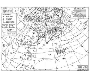 低気圧が東海上に抜けて西高東低の冬型の気圧配置,昨日の東ベースのうねりはサイズダウン傾向(181213)