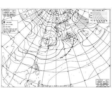 冬型の気圧配置は緩み西うねりの反応も弱まりそう,千葉エリアはややサイズに反応あるかも(181215)