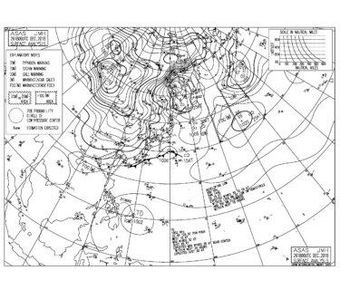 今夜から強い冬型の気圧配置,湘南は西うねりの反応を要チェック(2018.12.27)
