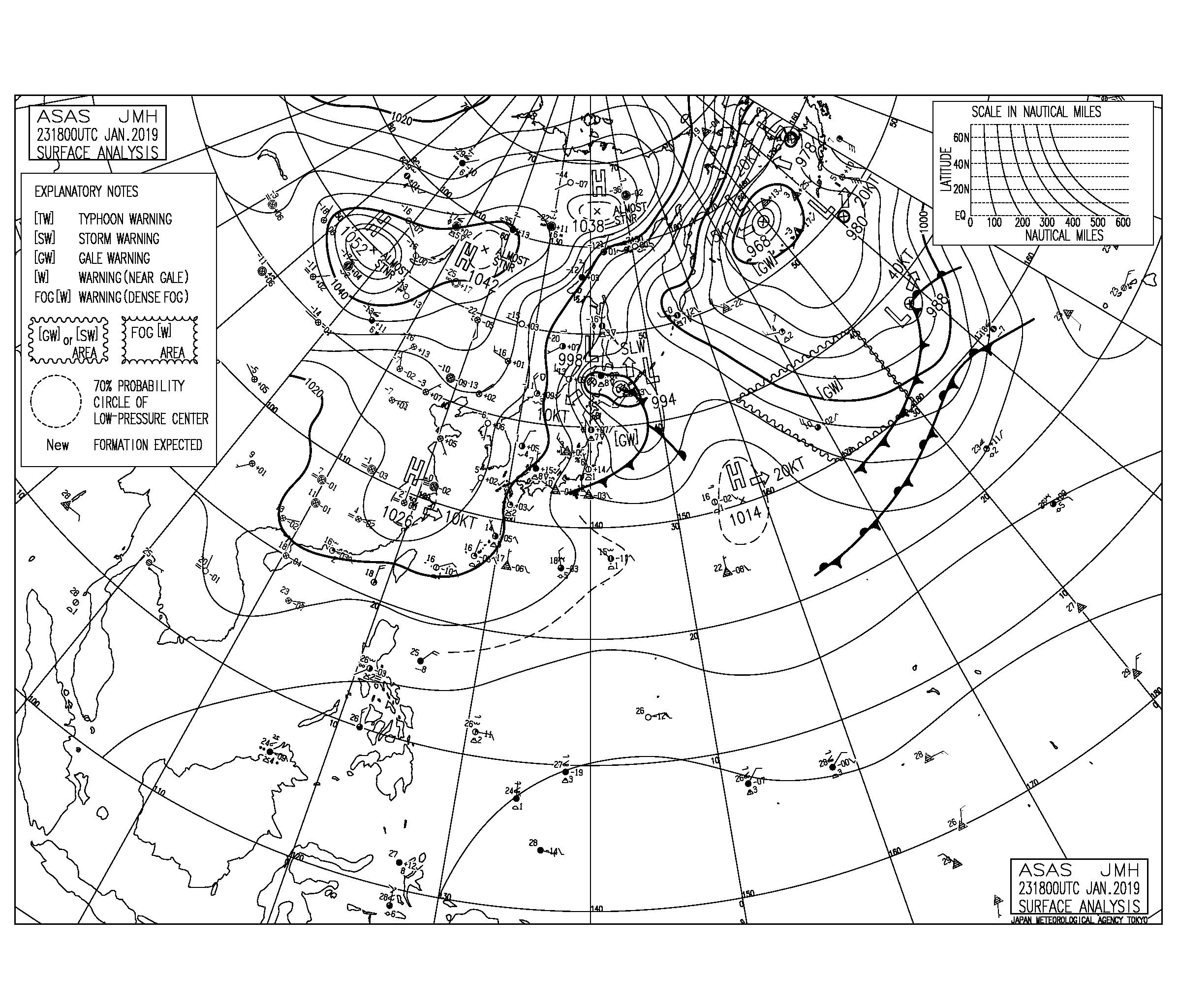 冬型の気圧配置で太平洋側は物足りないサイズ感、今後の北東うねりの反応に注目【2019.1.24】