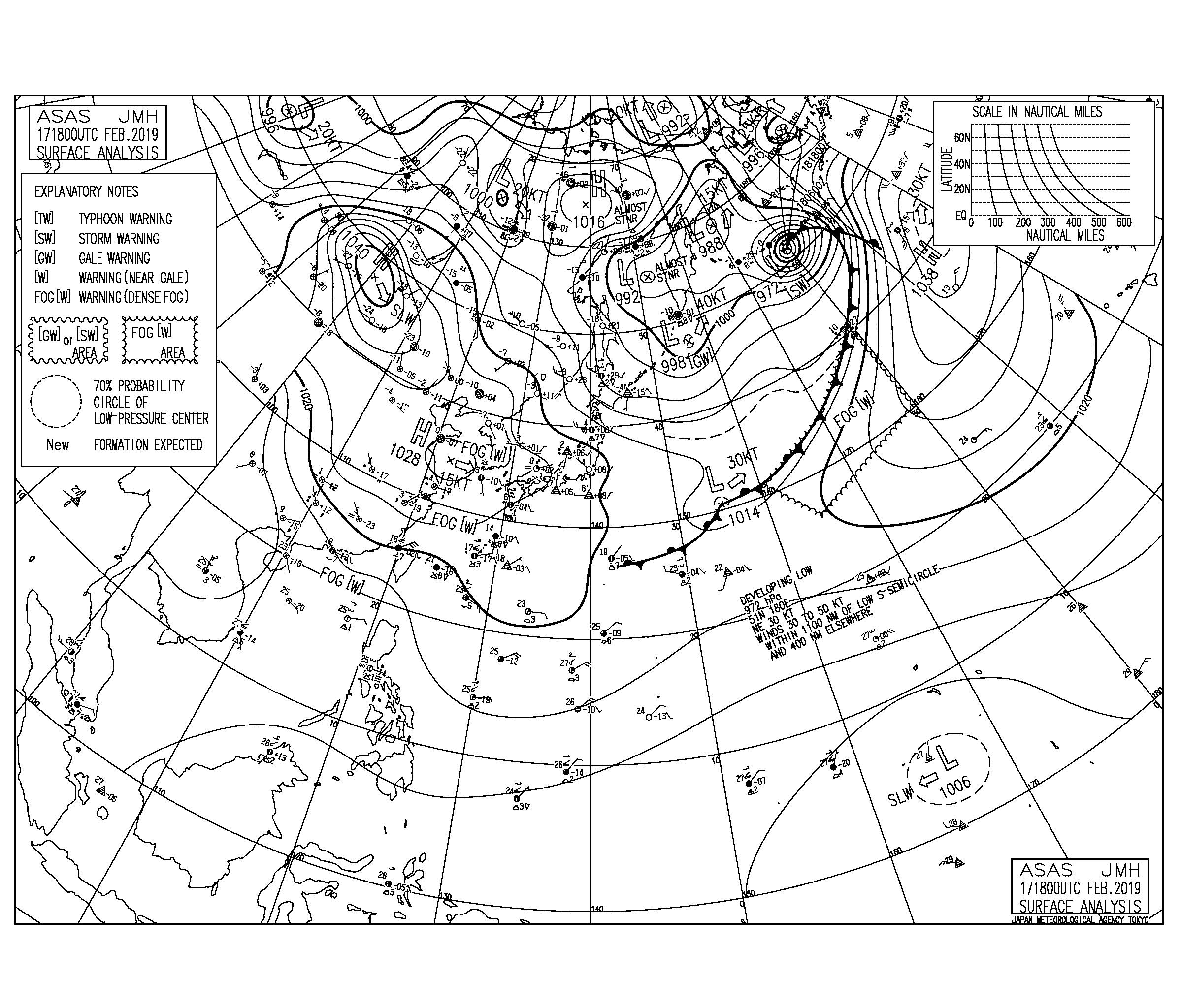 【2019.2.18】毎日の天気図と波情報
