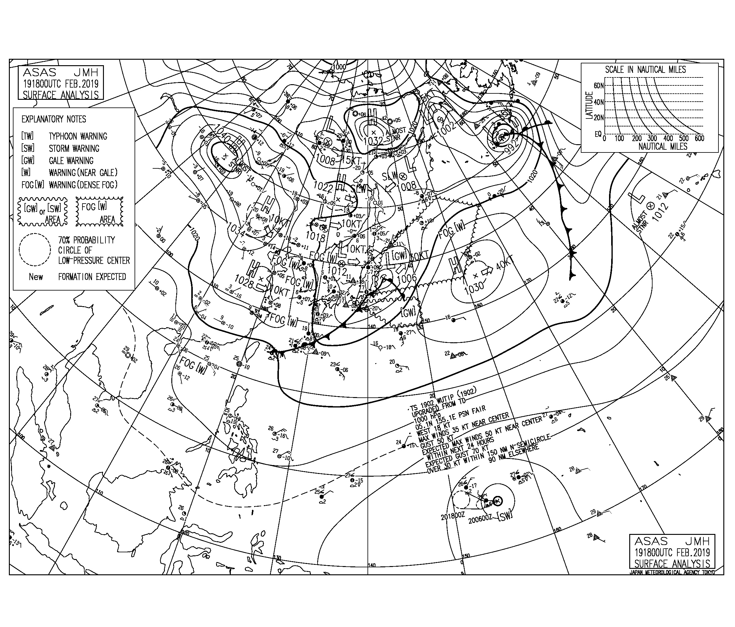 【2019.2.20】毎日の天気図と波情報