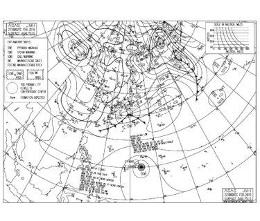 低気圧へ吹き込む北風が強く吹く、うねりの反応はイマイチ【2019.2.23】